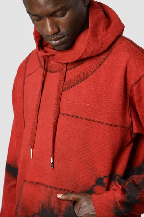 FENG CHEN WANG Terry Cotton Layer Red Hoodie  1