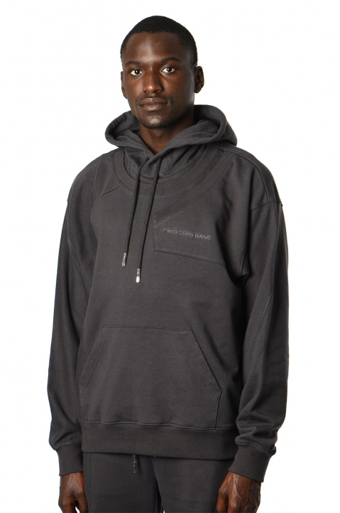 FENG CHEN WANG Terry Cotton Layer Grey Hoodie  0