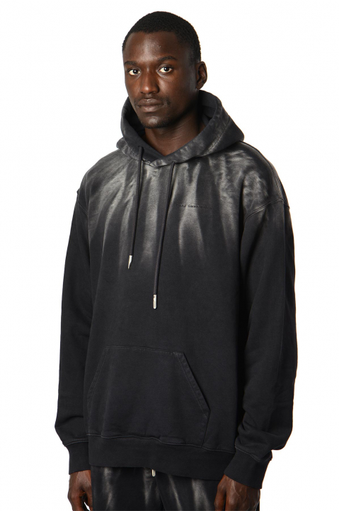 FENG CHEN WANG Terry Cotton Acid Black Hoodie  0