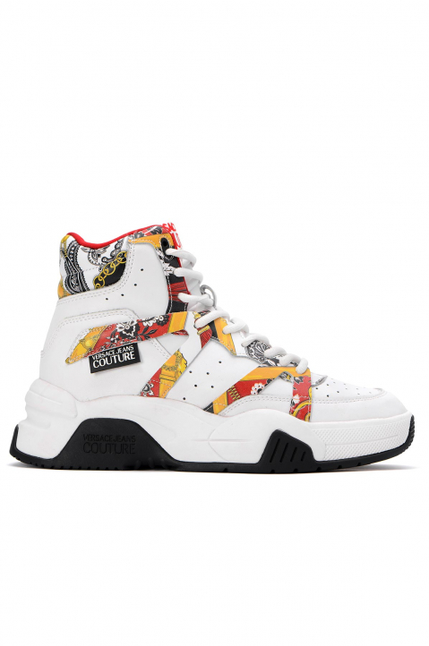 VERSACE JEANS COUTURE White Hi Top Linea Fondo Fire Sneakers 0