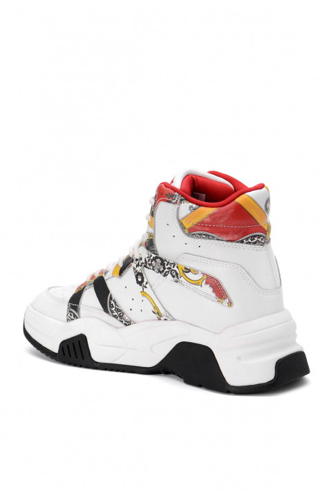 VERSACE JEANS COUTURE White Hi Top Linea Fondo Fire Sneakers 2