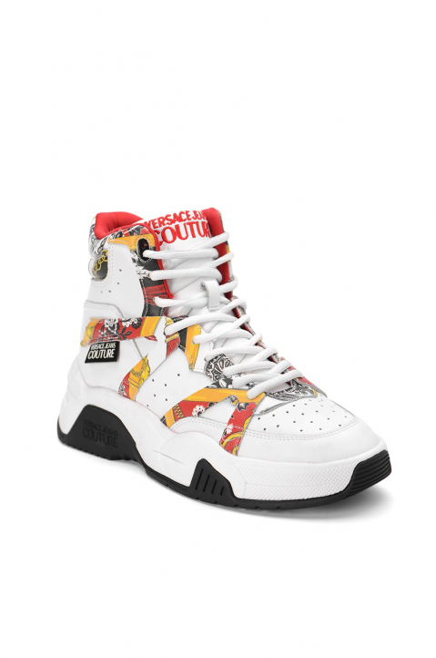 VERSACE JEANS COUTURE White Hi Top Linea Fondo Fire Sneakers 1