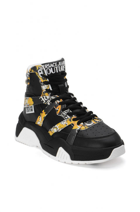VERSACE JEANS COUTURE Black Hi Top Linea Fondo Fire Sneakers 1