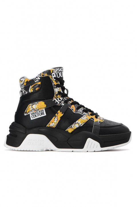 VERSACE JEANS COUTURE Black Hi Top Linea Fondo Fire Sneakers 0