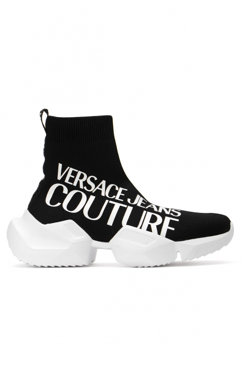 VERSACE JEANS COUTURE Oversized Logo Black Sock Sneakers 0