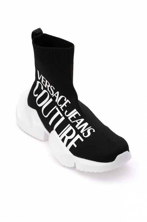 VERSACE JEANS COUTURE Oversized Logo Black Sock Sneakers 1