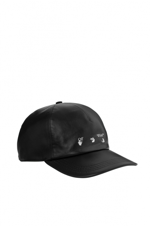 OFF-WHITE Black Leather Baseball Cap 0