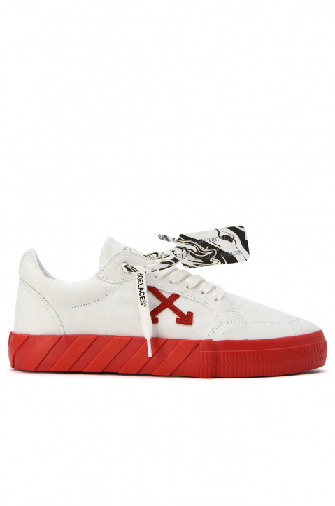 OFF-WHITE White/Red Low Vulcanized Sneakers 0