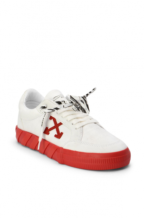 OFF-WHITE White/Red Low Vulcanized Sneakers 1