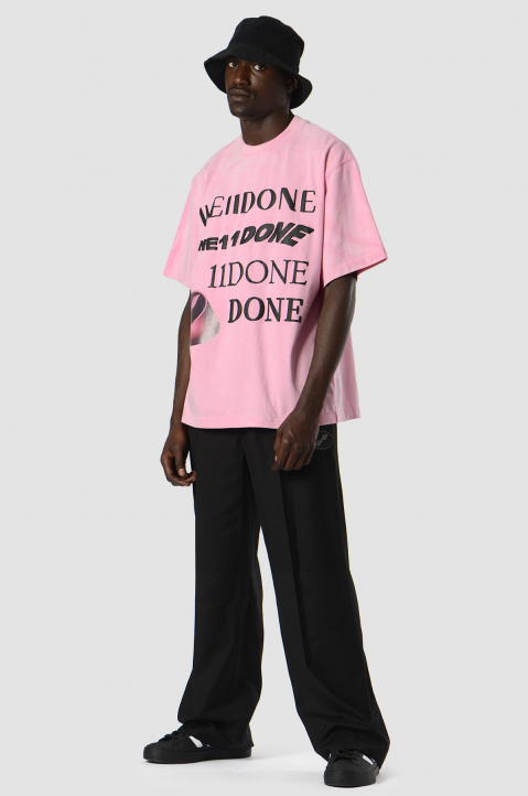 WE11DONE Washed Logo Pink Tee 2