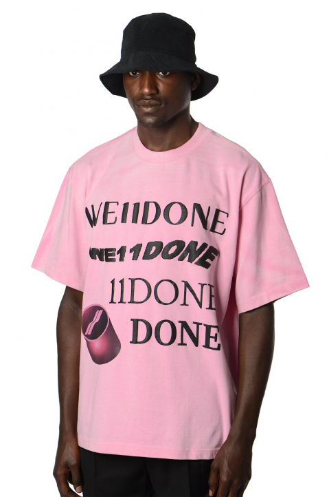 WE11DONE Washed Logo Pink Tee 0