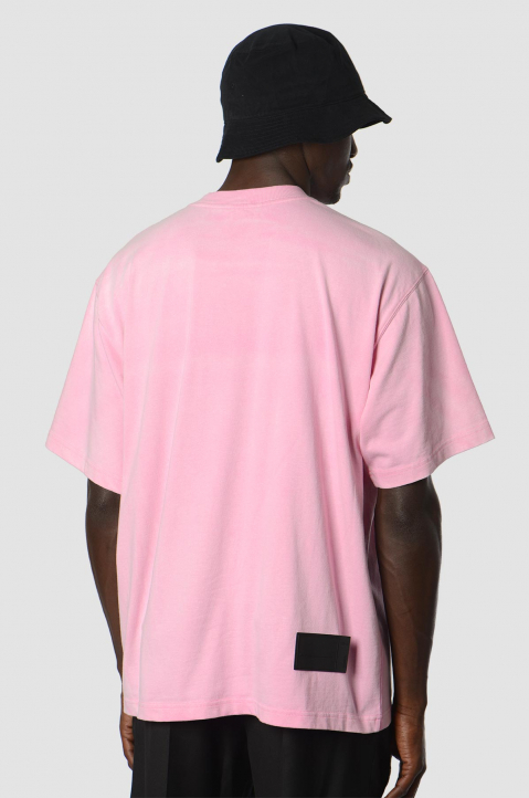 WE11DONE Washed Logo Pink Tee 1