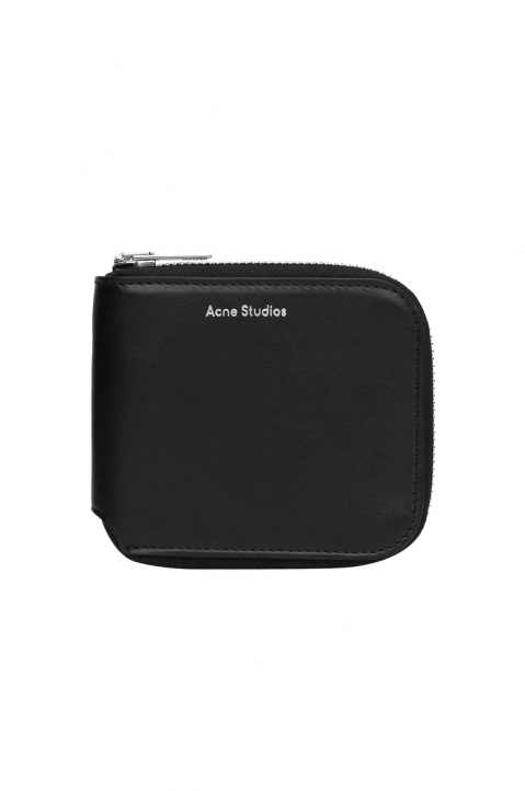ACNE STUDIOS Black Leather Compact Bi-Fold Wallet  0