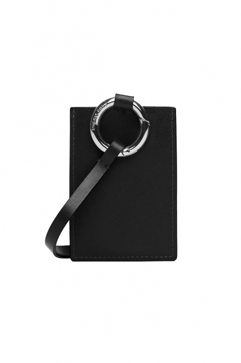 ACNE STUDIOS Black Leather Lanyard Card Holder 1
