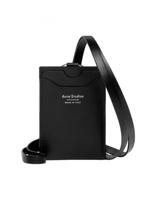 ACNE STUDIOS Black Leather Lanyard Card Holder 0