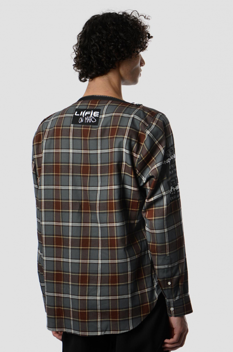 RAF SIMONS Punk Zip Checkered Shirt 1