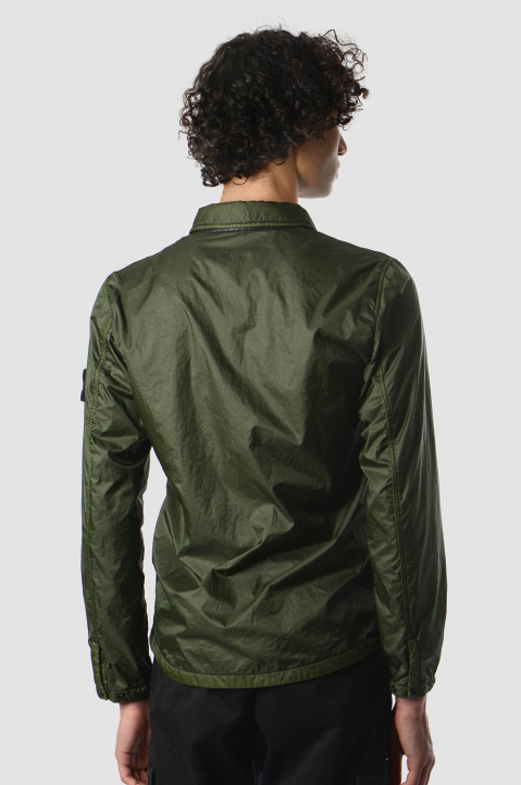 STONE ISLAND Green Lamy Flock Over-Shirt Jacket 1
