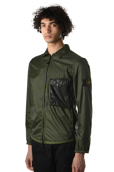 STONE ISLAND Green Lamy Flock Over-Shirt Jacket 0