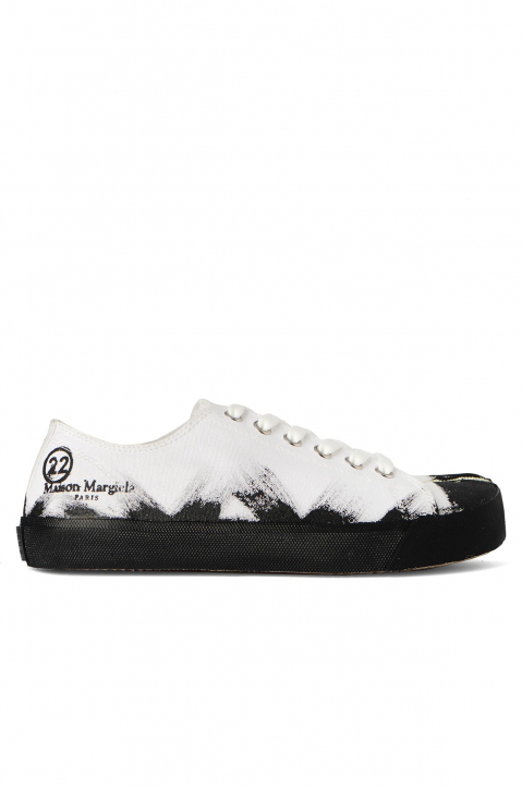 MAISON MARGIELA White Painted Canvas Tabi Sneakers 0