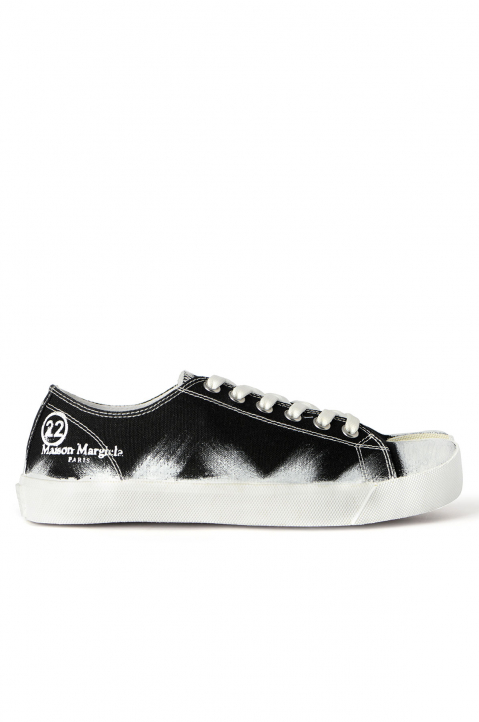 MAISON MARGIELA Black Painted Canvas Tabi Sneakers 0