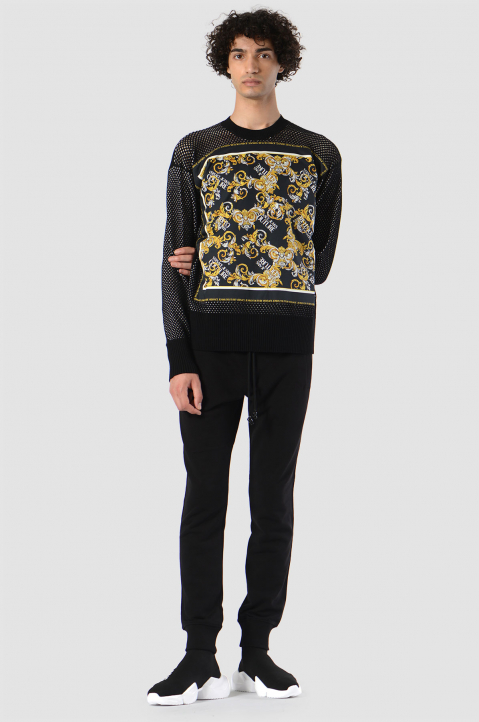 VERSACE JEANS COUTURE Baroque Print Knit Sweater  2