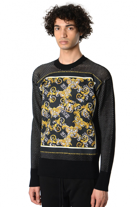 VERSACE JEANS COUTURE Baroque Print Knit Sweater  0