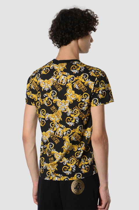 VERSACE JEANS COUTURE Baroque Print Black Tee 1