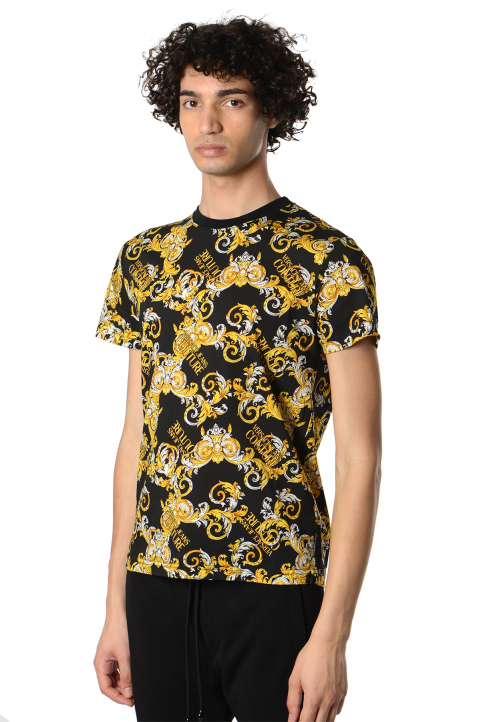 VERSACE JEANS COUTURE Baroque Print Black Tee 0