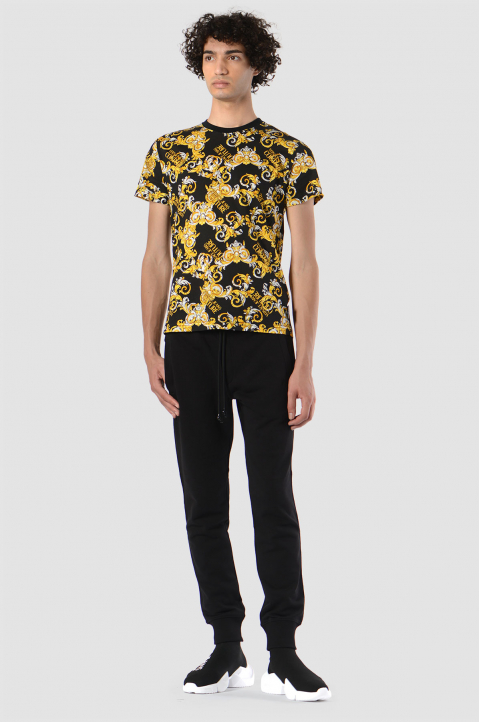 VERSACE JEANS COUTURE Baroque Print Black Tee 2