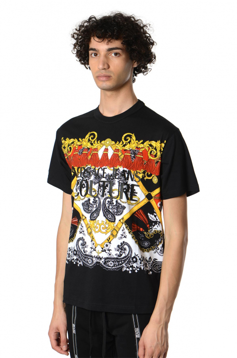 VERSACE JEANS COUTURE Fantasy Print Black Tee 0
