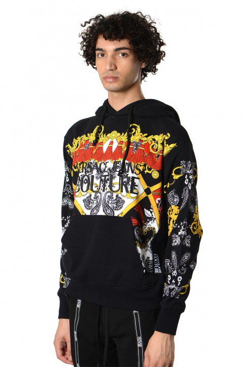 VERSACE JEANS COUTURE Fantasy Print Black Hoodie 0