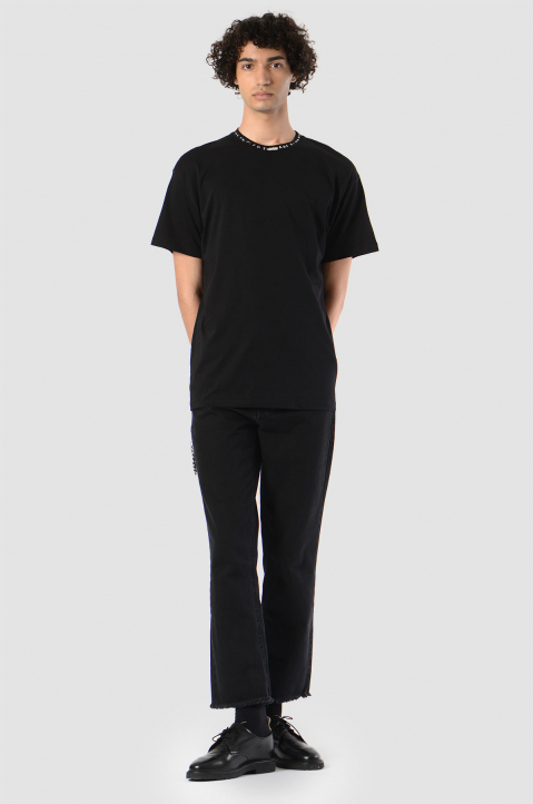 RAF SIMONS Chain Cropped Black Jeans  4