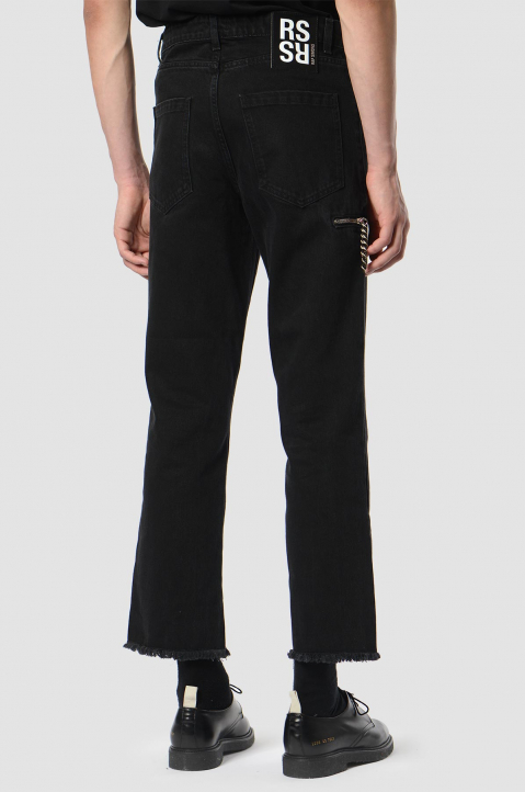 RAF SIMONS Chain Cropped Black Jeans  1