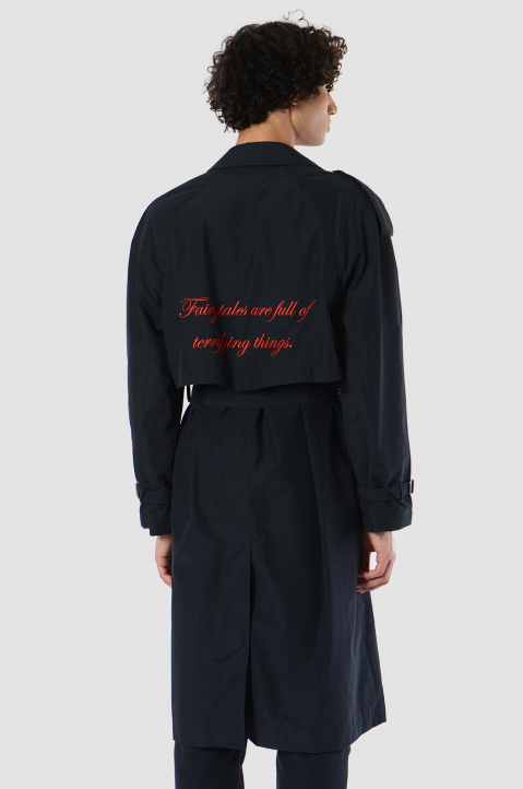 MSGM Ripstop Navy Trench Coat 1