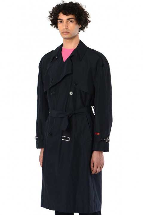 MSGM Ripstop Navy Trench Coat 0