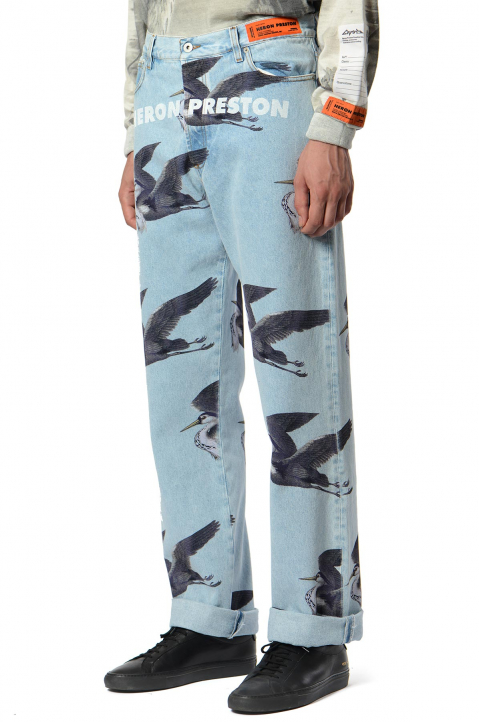 HERON PRESTON Graphic Light Blue Jeans  0
