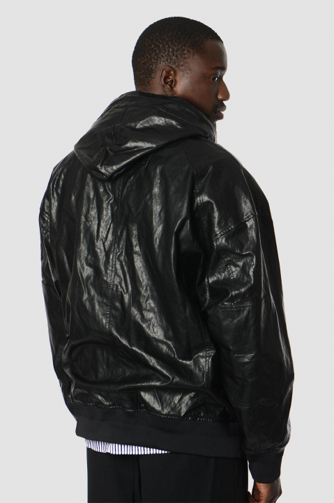 JUUN.J Synthetic Leather Black Pullover Jacket 1