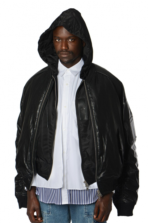 JUUN.J Double Layer Synthetic Leather Bomber Jacket 0