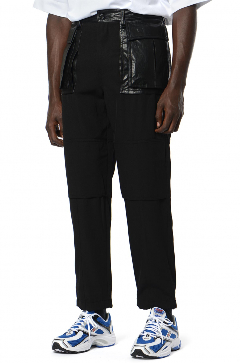 JUUN.J Synthetic Leather Pockets Black Trousers 0