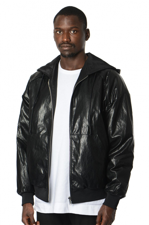 JUUN.J Synthetic Leather Black Hooded Jacket 0