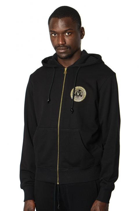 VERSACE JEANS COUTURE Gold Foil Logo Zip Hoodie  0