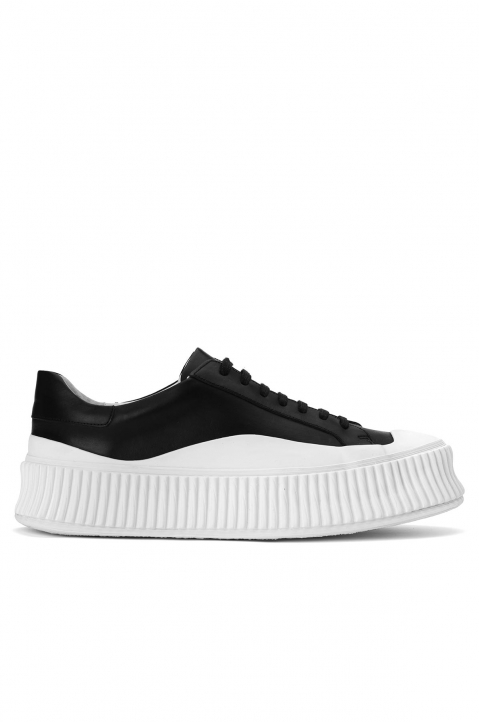 JIL SANDER Black/White Vulcanized Sneakers 0