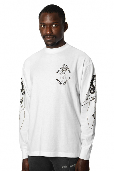 PALM ANGELS Small Exotic Club White LS Tee 0