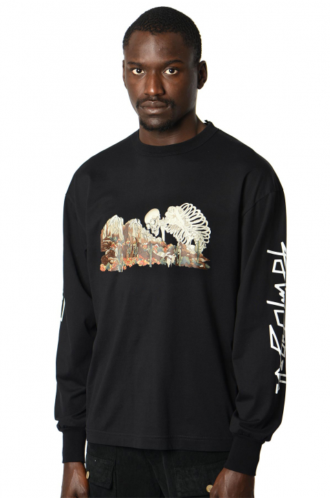 PALM ANGELS Desert Skull Black LS Tee 0