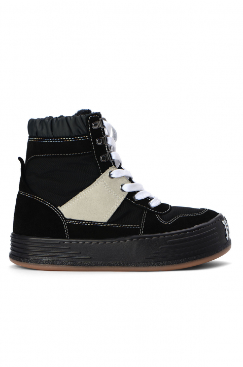 PALM ANGELS Black Suede Snow Hi Top Sneakers  0