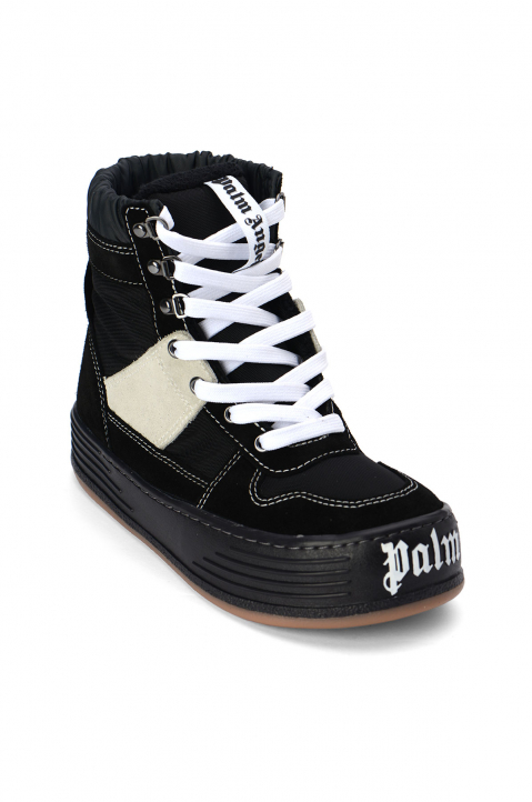 PALM ANGELS Black Suede Snow Hi Top Sneakers  1