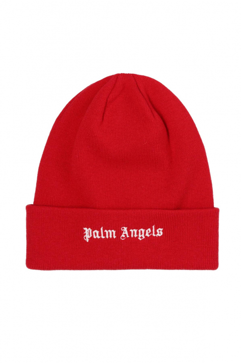 PALM ANGELS Red Logo Beanie  0