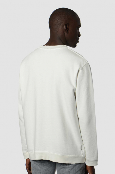 RAF SIMONS Destroyed White Sweatshirt  1