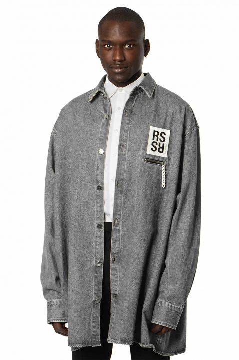 RAF SIMONS Oversized Grey Denim Shirt  0