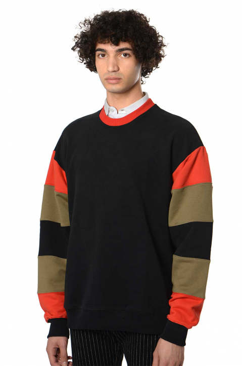 DAVID CATALÁN Stripe Sleeves Black Sweatshirt  0